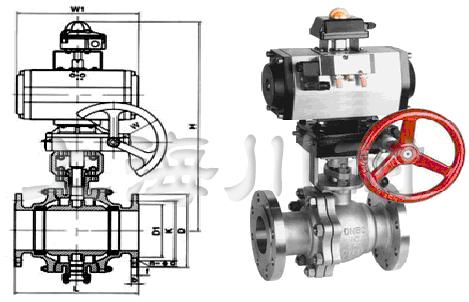 q641y带手动气动硬密封球阀结构图